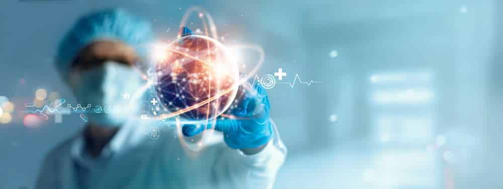 Doctor holding virtual globe with healthcare network connection. Science and medical innovation technology develop sustainable smart services and solutions in global research and development.