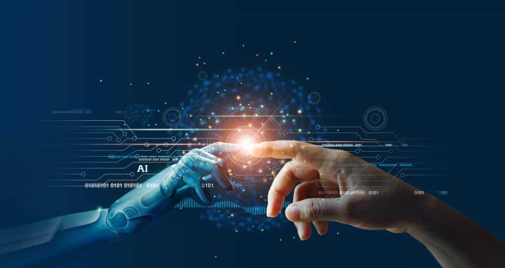 AI, Machine learning, Hands of robot and human touching on big data network connection background, Science and artificial intelligence technology, innovation and futuristic.